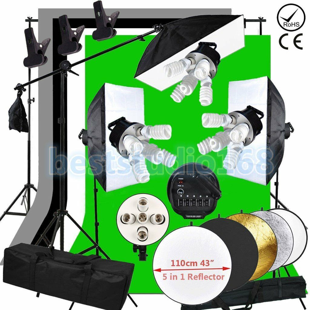 Photography 2x3m Black White Backdrop Studio Softbox Lighting Boom Arm Stand Kit