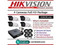 Hikvision HiWatch CCTV: 4CH Hikvision Turbo-HD Cube, 4x HiWatch 2MP 1080P Bullet Cameras
