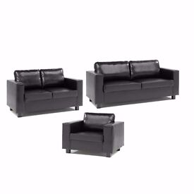 *30-DAYS MONEY BACK GUARANTEE* ITALIAN PU LEATHER 3 and 2 SEATER BOX SOFA SUITE IN BLACK/BROWN COLOR