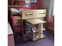 Mid Sleeper Cabin Bed with integrated desk, shelves and drawers!