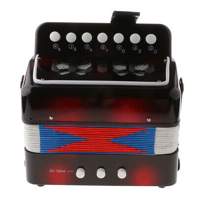 High Quality Children Kids 7 Button Accordion Musical Instrument Toy Black