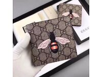 New Mens Gucci Bee Print GG Supreme Wallet RRP: £230