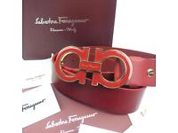Red big buckle ferragamo red men's leather belt boxed rare gift