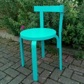 Aqua blue wooden chair