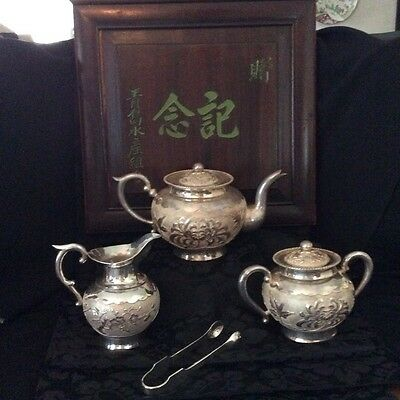 Antique Chinese EXPORT Silver Tea Set Chrysanthemum and Prunus pattern NIB