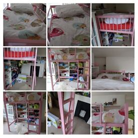 Pink high sleeper kid's bed + mattress for sale