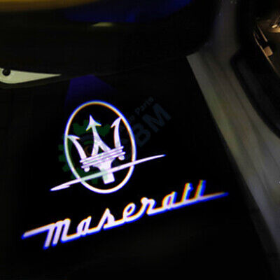 2x LED Door Courtesy Shadow Welcome Light for Maserati Ghibli 14-19 Trident logo