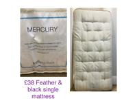 Urgent must go today feather and black pocket sprung mattress single