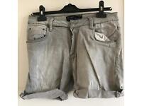 Pull & Bear Light Grey Denim Cut Off Shorts