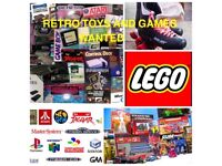 Wanted games & consoles collections from Atari, sega Nintendo, PlayStation, Xbox neo geo toys, Lego,