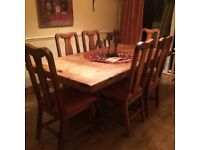 Mexican pine dining table & 6 chairs