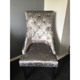 Silver crushed velvet dining beauty chair with Knocker and Chrome legs