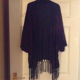 Black and pink velvet tassel kimono