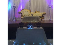 WEDDING VENUE DECORS, CENTREPIECES, THRONE CHAIRS SOFAS BALLOON DECORATIONS, ARCHS FERRIS WHEEL HIRE