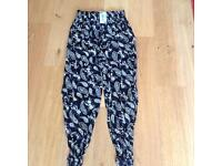 BNWT, Size 10/12 ladies lovely summer cotton trousers with elasticated waist and ankle