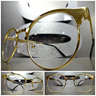 Mens or Women VINTAGE 50's RETRO Style Clear Lens EYE GLASSES Gold Fashion Frame