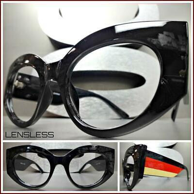 Overszie Retro Cat Eye Stil Dick Schwarz Glasloses Brillen Rahmen nur Kein