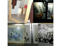 Joblot pictures, canvas and mirror