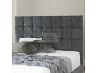 double divan bed with mattress, drawers and grey fabric head board, FREE DELIVERY