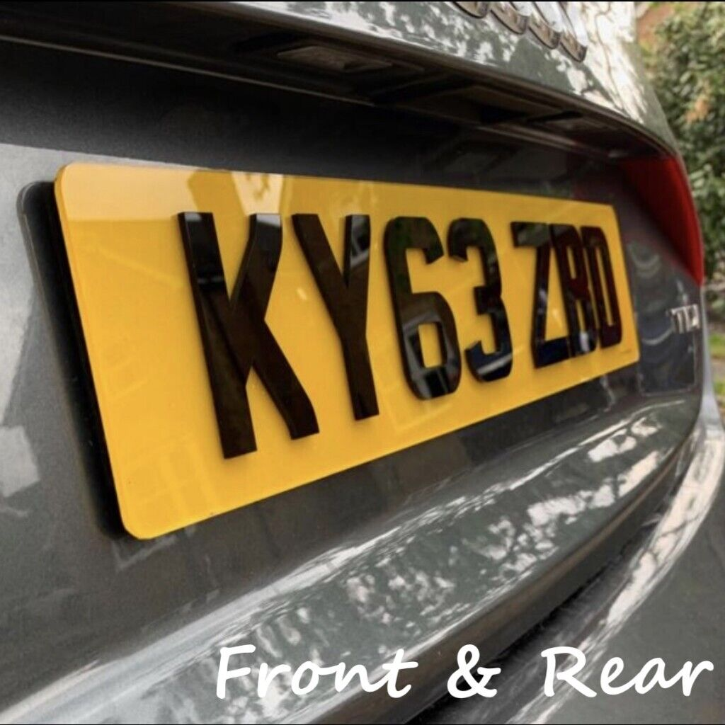 PAIR of 4D Black 3D Raised Acrylic Car Number Plates Front Back