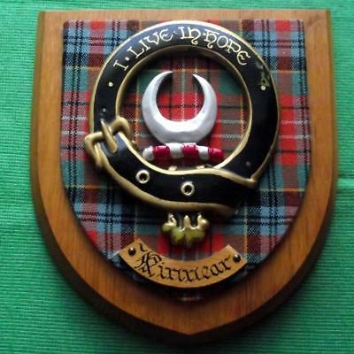 Celtic Vintage Old Scottish Carved Oak Clan Kinnear Plaque Crest Shield Mottos