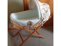 Mama and papas Moses basket , stand and bedding