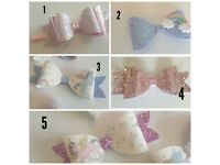 Girls Hair Bow Clips - Glitter, unicorn, pink, sparkle, rainbow, accessories