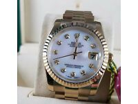 New Mens bagged gold presidential Bracelet white mother pearl dial automatic sweeping Rolex datejust