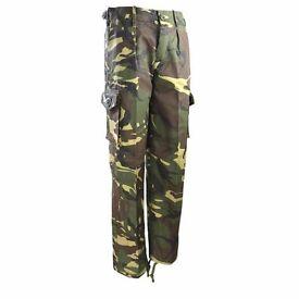 Kombat Kids Army Style Cargo Trousers Dpm Camo Woodland Fishing Airsoft