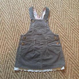 H&M girls' cord pinafore dress 3-4 years