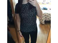 H&M Black T Shirt with Zebra Pattern