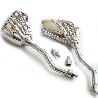 Custom Chrome Skull Bone Skeleton Hand Mirrors For Motorcycle Cruiser Chopper - Skull Hand
