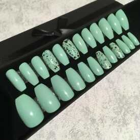 Mint Green False Nails with Camo Accent