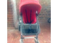 bugaboo cameleon pram with extra beige cover, umbrella, basket, organiser.