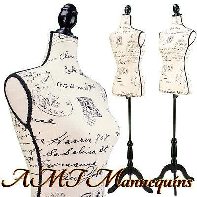 Vintage-style Female Mannequin Toros Tripod Stand Linen Dress Form-l05