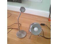 2 silver desk lamps.