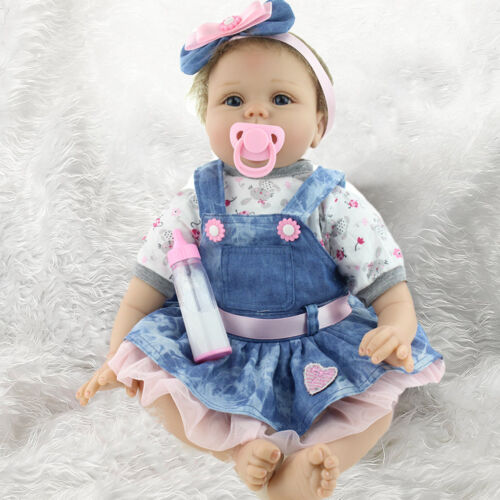 Купить 22''Lifelike Handmade Full Silicone Vinyl Reborn Baby Doll Newborn Girl +Clothes