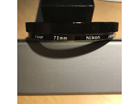 Nikon 72 mm Polarising filter - used in good condition - no scratches.