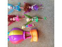 4 mini tinkerbell dolls Periwinkle Pirate fairy Rosetta polly pocket air balloon