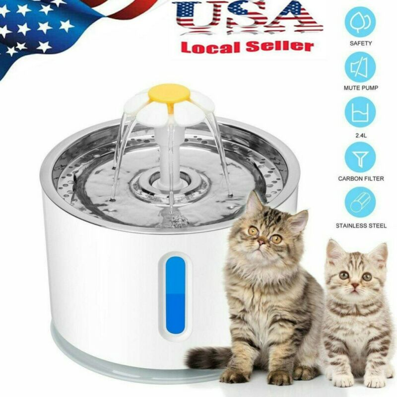 LED Automatic Pet Cat Water Drinking Fountain Silence Pump Power Adapter US Plug - $27.99