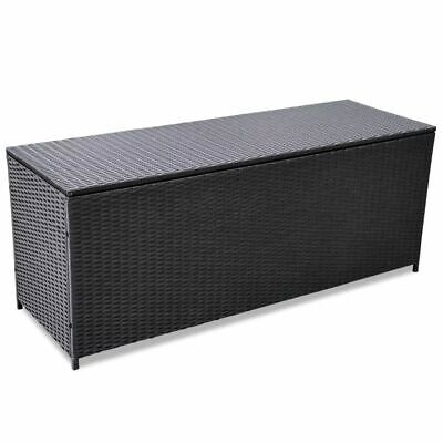 vidaXL Outdoor Storage Box Poly Rattan Black Entryway Chest Bench Organizer ()
