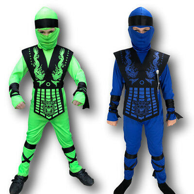 BOYS POWER NINJA KOMBAT SAMURAI WARRIOR CHILD KIDS KARATE FANCY DRESS - Ninja Boy Child Kostüm