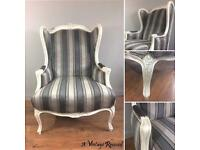 Reupholstered Wingback Armchair