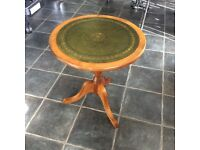 Solid Wood Round Lamp Table / Tripod Table / Occasional Table With Inlaid Green Leather Top