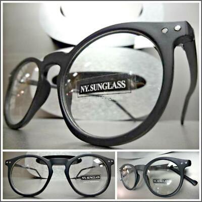 Herren Vintage Retro Stil Klarglas Brillen Rund Mattschwarz Modisch Rahmen