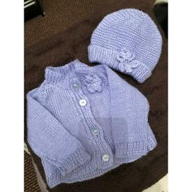 0-3 month cardigan with hat