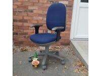 Blue Operators Chair with Adjustable Arms
