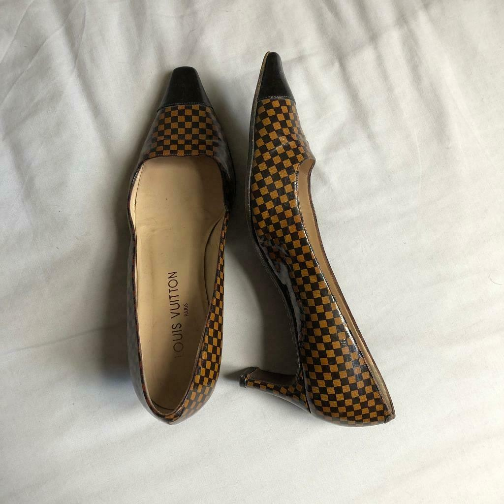 3ad20715382c Louis Vuitton Women Leather Heels Shoes 38.5 38 1 2 UK5