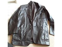 Mans leather brown coat