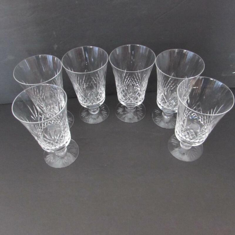Set of 6 Vtg Clear Glass Diamond Cut Pineapple Footed 8 Oz. Water Glasses (EUC)